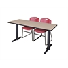 "Cain 66"" x 24"" Training Table- Beige & 2 Zeng Stack Chairs- Burgundy"