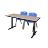 """Cain 66"""" x 24"""" Training Table- Beige & 2 'M' Stack Chairs- Blue"""