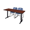 "Cain 66"" x 24"" Training Table- Cherry & 2 Zeng Stack Chairs- Blue"