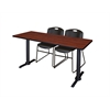 "Cain 66"" x 24"" Training Table- Cherry & 2 Zeng Stack Chairs- Black"