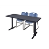 "Cain 66"" x 24"" Training Table- Grey & 2 Zeng Stack Chairs- Blue"