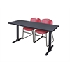 """Cain 66"""" x 24"""" Training Table- Grey & 2 Zeng Stack Chairs- Burgundy"""