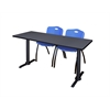 "Cain 66"" x 24"" Training Table- Grey & 2 'M' Stack Chairs- Blue"