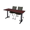 "Cain 66"" x 24"" Training Table- Mahogany & 2 Apprentice Chairs- Black"