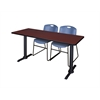 "Cain 66"" x 24"" Training Table- Mahogany & 2 Zeng Stack Chairs- Blue"