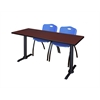 "Cain 66"" x 24"" Training Table- Mahogany & 2 'M' Stack Chairs- Blue"