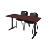 "Cain 66"" x 24"" Training Table- Mahogany & 2 'M' Stack Chairs- Black"