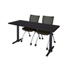 "Cain 66"" x 24"" Training Table- Mocha Walnut & 2 Apprentice Chairs- Black"