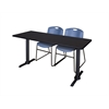 "Cain 66"" x 24"" Training Table- Mocha Walnut & 2 Zeng Stack Chairs- Blue"