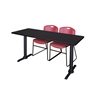"Cain 66"" x 24"" Training Table- Mocha Walnut & 2 Zeng Stack Chairs- Burgundy"