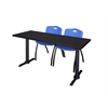 "Cain 66"" x 24"" Training Table- Mocha Walnut & 2 'M' Stack Chairs- Blue"