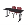 "Cain 66"" x 24"" Training Table- Mocha Walnut & 2 'M' Stack Chairs- Burgundy"