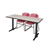 "Cain 66"" x 24"" Training Table- Maple & 2 Zeng Stack Chairs- Burgundy"