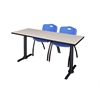"Cain 66"" x 24"" Training Table- Maple & 2 'M' Stack Chairs- Blue"
