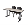 "Cain 66"" x 24"" Training Table- Maple & 2 'M' Stack Chairs- Black"