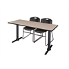 "Cain 72"" x 24"" Training Table- Beige & 2 Zeng Stack Chairs- Black"