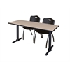 "Cain 72"" x 24"" Training Table- Beige & 2 'M' Stack Chairs- Black"