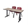 "Cain 72"" x 24"" Training Table- Beige & 2 'M' Stack Chairs- Burgundy"