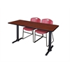 "Cain 72"" x 24"" Training Table- Cherry & 2 Zeng Stack Chairs- Burgundy"