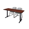 "Cain 72"" x 24"" Training Table- Cherry & 2 Zeng Stack Chairs- Grey"