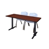 "Cain 72"" x 24"" Training Table- Cherry & 2 'M' Stack Chairs- Grey"