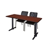 "Cain 72"" x 24"" Training Table- Cherry & 2 Mario Stack Chairs- Black"