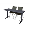 "Cain 72"" x 24"" Training Table- Grey & 2 Apprentice Chairs- Black"