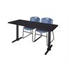 "Cain 72"" x 24"" Training Table- Mocha Walnut & 2 Zeng Stack Chairs- Blue"