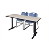 "Cain 72"" x 24"" Training Table- Maple & 2 Zeng Stack Chairs- Blue"
