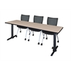 "Cain 84"" x 24"" Training Table- Beige & 3 Apprentice Chairs- Black"