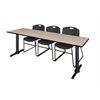 "Cain 84"" x 24"" Training Table- Beige & 3 Zeng Stack Chairs- Black"