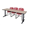 """Cain 84"""" x 24"""" Training Table- Beige & 3 Zeng Stack Chairs- Burgundy"""