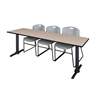 "Cain 84"" x 24"" Training Table- Beige & 3 Zeng Stack Chairs- Grey"