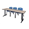 "Cain 84"" x 24"" Training Table- Beige & 3 'M' Stack Chairs- Blue"