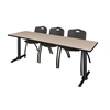"""Cain 84"""" x 24"""" Training Table- Beige & 3 'M' Stack Chairs- Black"""