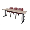 "Cain 84"" x 24"" Training Table- Beige & 3 'M' Stack Chairs- Burgundy"