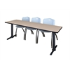"Cain 84"" x 24"" Training Table- Beige & 3 'M' Stack Chairs- Grey"