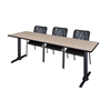 "Cain 84"" x 24"" Training Table- Beige & 3 Mario Stack Chairs- Black"
