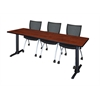 "Cain 84"" x 24"" Training Table- Cherry & 3 Apprentice Chairs- Black"