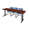 """Cain 84"""" x 24"""" Training Table- Cherry & 3 Zeng Stack Chairs- Blue"""