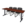 """Cain 84"""" x 24"""" Training Table- Cherry & 3 Zeng Stack Chairs- Black"""