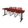 "Cain 84"" x 24"" Training Table- Cherry & 3 Zeng Stack Chairs- Burgundy"