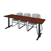 "Cain 84"" x 24"" Training Table- Cherry & 3 Zeng Stack Chairs- Grey"