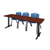 """Cain 84"""" x 24"""" Training Table- Cherry & 3 'M' Stack Chairs- Blue"""