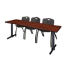 "Cain 84"" x 24"" Training Table- Cherry & 3 'M' Stack Chairs- Black"