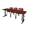 """Cain 84"""" x 24"""" Training Table- Cherry & 3 'M' Stack Chairs- Burgundy"""