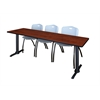 """Cain 84"""" x 24"""" Training Table- Cherry & 3 'M' Stack Chairs- Grey"""