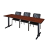"Cain 84"" x 24"" Training Table- Cherry & 3 Mario Stack Chairs- Black"