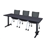 """Cain 84"""" x 24"""" Training Table- Grey & 3 Apprentice Chairs- Black"""