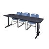 "Cain 84"" x 24"" Training Table- Grey & 3 Zeng Stack Chairs- Blue"